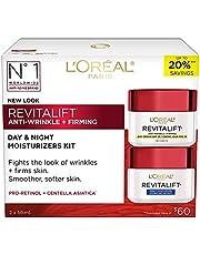 L'Oreal Paris Revitalift Anti-Wrinkle + Firming Anti-Aging Cream Day & Night Moisturizers , with Pro-Retinol & Centella Asiatica, 2x50 mL