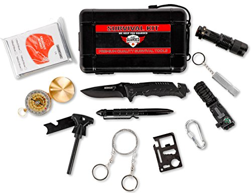 Emergency Survival Kit Outdoor Gear – Everyday Military Supply Pack with Self Defense Weapons – Tactical Knife, Fire Starter Set, Compass, Paracord Bracelet – Small & Lightweight to Carry in Backpack