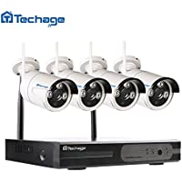 Techage Wifi Security System/ Wireless CCTV Camera System Outdoor/ Indoor, 4CH 1080P 2.0MP Waterproof IP Camera, 65ft Night Vision, Plug & Play, Home Security Surveillance Kits NO Hard Drive