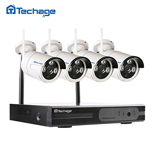 Techage Wifi Security System/ Wireless CCTV Camera System Outdoor/ Indoor, 4CH 1080P 2.0MP Waterproof IP Camera, 65ft Night Vision, Plug & Play, Home Security Surveillance Kits NO Hard (210 Indoor Network Camera)