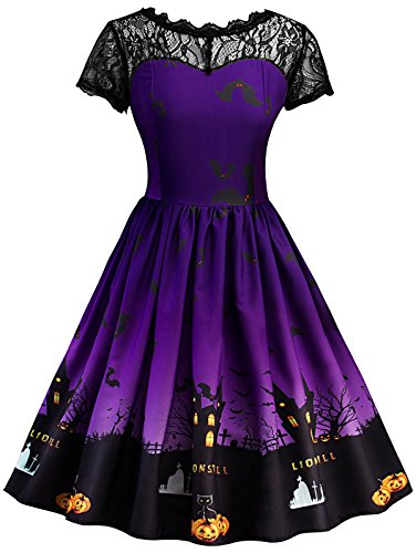 ZAFUL Women Vintage Party Wear Halloween Pumpkin Moon Lace Pin Up Short Sleeve A-Line Dress(Purple,M)