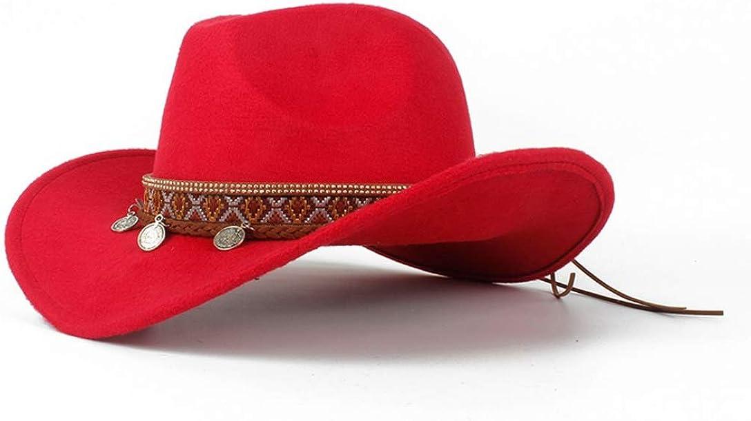 Western Cowboy Hat for Women Roll-up Wide Brim Elegant Lady Fascinator Vintage Sombrero Anti UV Jazz Cap Sun Hat