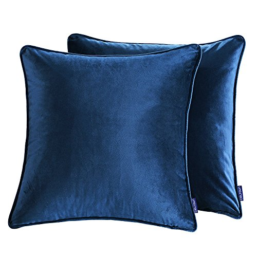 18' Tailored Throw Pillow - Cieltown Solid Velvet Throw Pillow Covers, 2-pack, 18