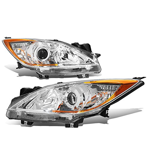 For Mazda 3 BL Pair of Chrome Housing Amber Corner OE Style Projector Headlight