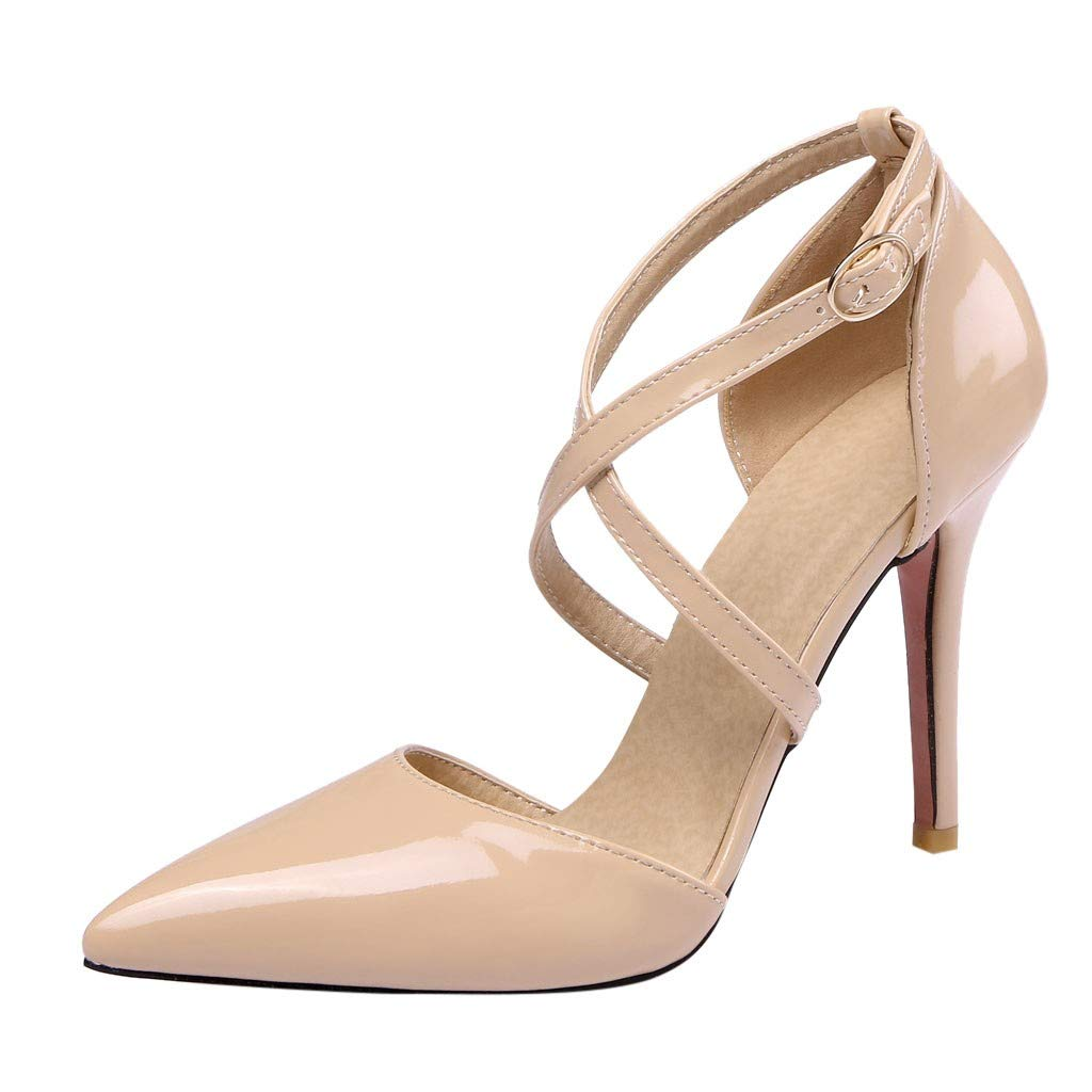 Heeled Sandals for Women Ankle Strap,FAPIZI Lady Round Toe Shoes Cross Bandage High Heel Non-Slip Sandals Beige