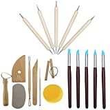 Highmoor Clay Pottery Sculpting Tool Set Kit, Clay Color Shaping Modeling Wipe Out Tools Rubber Tip Paint Brush, Ball Stylus Dotting Tools Set Clay Sculpture Modeling Tool