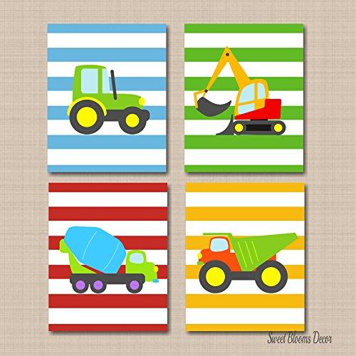Construction Wall Art,Trucks Kids Wall Art,Transportation Nursery Wall Art,Boy Nursery Wall Art, Trucks Playroom Art,Tractor Dump Truck Excavator- UNFRAMED Set of 4 PRINTS (NOT CANVAS)C114 - Kid Art Tractor