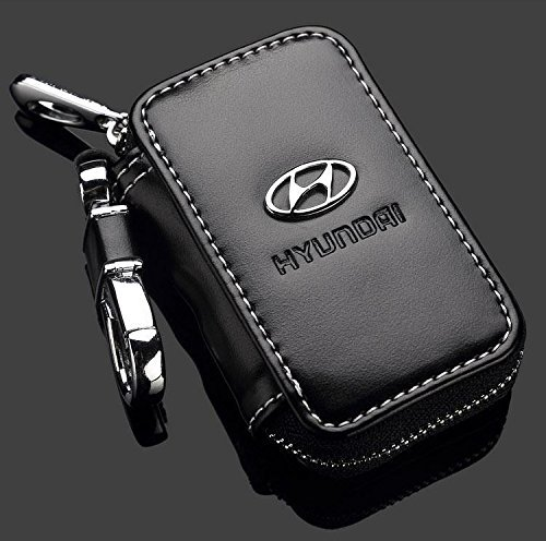 black-premium-leather-car-key-chain-coin-holder-zipper-case-remote-wallet-bag-hyundai