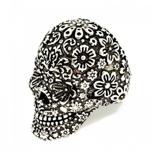 Men's Silver Plate Floral Caribbean Skull Pirate Ring