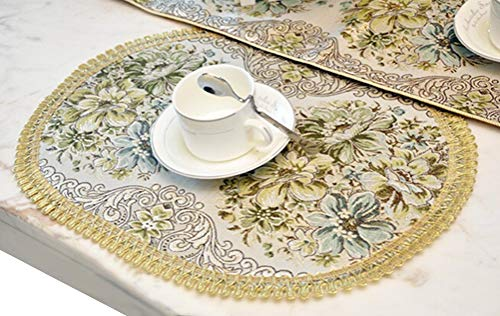 BLUETOP Placemats, Classic Luxury Elegant Embroidery European Style Tassel Dining Manual Placemats Sequined Lace Hotel Coffee Dining Table Mats (Green, 18