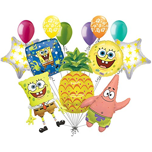 13pc Spongebob Patrick Pineapple Balloon Bouquet Party Happy Birthday Sponge Bob -