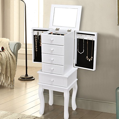 Giantex Standing Jewelry Armoire with Flip-top Mirror Wood Box Storage Chest Cabinet Organizer Chest