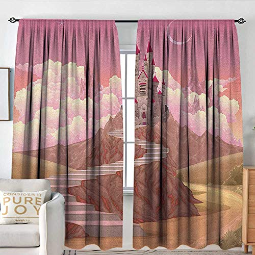 NUOMANAN Curtains for Living Room Fairytale,Princess and Castle Cartoon Like Image on The Hill with Sunset Image Art Print, Multicolor,Decor Collection Thermal/Room Darkening Window Curtains 84