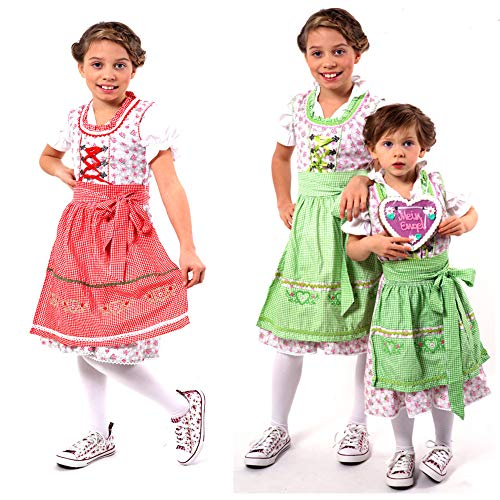 Authentic German/Bavarian 3 PCS. Dirndl Trachten Outfit for Girls in Red and Grey Size 6 ()