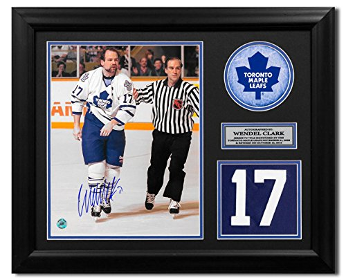 AJ Sports World Wendel Clark Toronto Maple Leafs Signed Retired Jersey Number 23x19 Frame