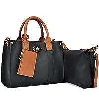 Daein Faux Leather Mini Satchel/Crossbody Bag w/Lock Deco Deals