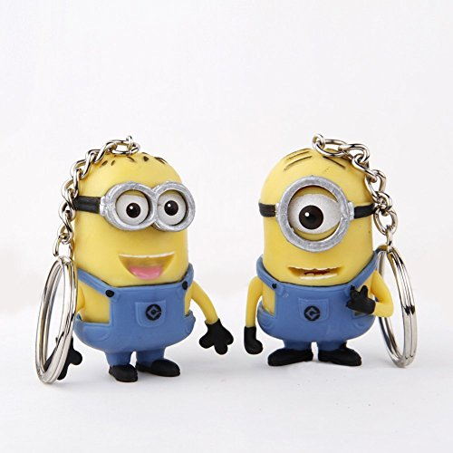 NEW 2PCS Despicable Me Minion Toy Rubber KeyChain 3D Eyes By Bestlilfe