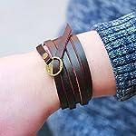 Retro Brown Five laps Men Gothic Top Leather Bracelets & Bangles Steampunk Charm Bracelets Couple Part Gifts 7