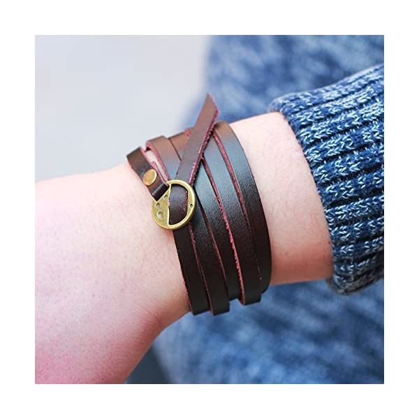 Retro Brown Five laps Men Gothic Top Leather Bracelets & Bangles Steampunk Charm Bracelets Couple Part Gifts 4
