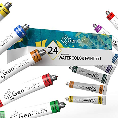 GenCrafts Watercolor Paint Set - Set of 24 Premium Vibrant Colors - (12 ml, 0.406 oz.) - Quality Non Toxic Pigment Paints for Canvas, Fabric, Crafts, and More - for All Artists: Adults and Kids