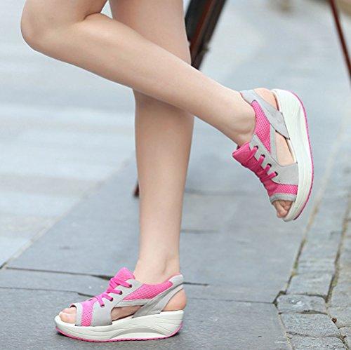 Cuña Malla Zapatos Mujer De Rojo Plataforma Sandalias Deporte Respirable Zapatilla Andar Peep Toe wSqZ6S