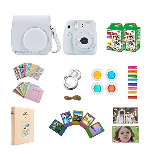 (Fujifilm Instax Mini 9 Instant Camera - White + Accessories Bundle Includes; Carrying Case, Acrylic Magnetic Picture Frames, Album, Selfie Lens, Frames and Stickers + More)