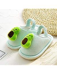 Flip Flop-GQ Fruit Children's Cotton Slippers Indoor Home Cartoon Wearable Comfort Memory Foam Cartoon Slippers Indoor@Green (Avocado)_170 Inside Length 17cm