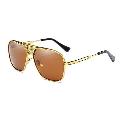 Retro Polarisierte Herren Sonnenbrillen Aluminium Magnesium Rahmen Gold Sonnenbrillen UV400 Männer Square Brillen Pilot Metall Braun ELVh01jN