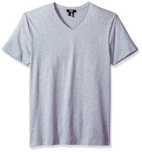 PAIGE Men's Grayson Cotton V-Neck Tee, Light Heather Grey, L