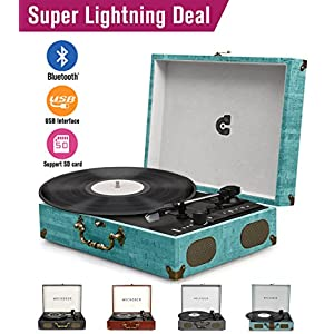 CMC Portable Bluetooth 3 Stereo Speed Turntable with Built in Speakers, Vintage Style Vinyl Record Player