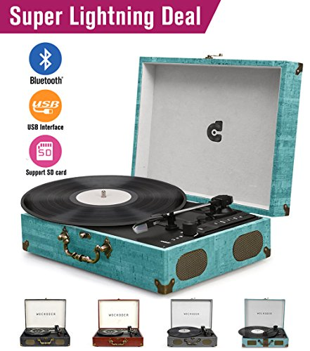 CMC Portable Bluetooth 3 Stereo Speed Turntable with Built in Speakers, Vintage Style Vinyl Record Player, Sky Blue (Sky Blue)