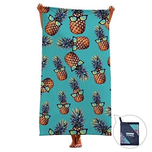 (Goodstoworld Microfiber Blue Pineapple Beach Towel Outdoor Sports Oversized Sunbathing Kids Adult Girlish Bath Travel Novelty Hawaiian Towels Pool Spa Mat Large Micro Fiber Absorbent Hike Gym Blanket)