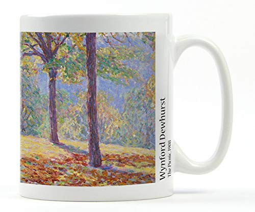 1art1 Set: Impressionism, Wynford Dewhurst, The Picnic, 1908 Photo Coffee Mug (4x3 inches) and 1x Surprise Sticker