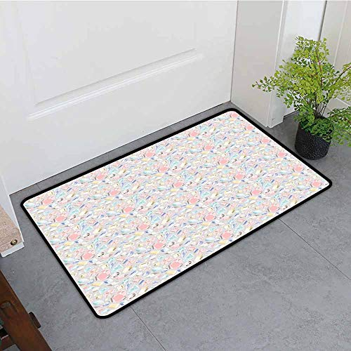 ONECUTE Bath mat,Diamonds Pastel Colored Cushion Baguette Square and Oval Shaped Design Star Filled Backdrop,Customize Door mats for Home Mat,35