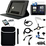 GTMax 15 pieces Accessory Bundle Black Bundle Neoprene Sleeve Case Kit for Archos 80 G9 8GB Android Tablet