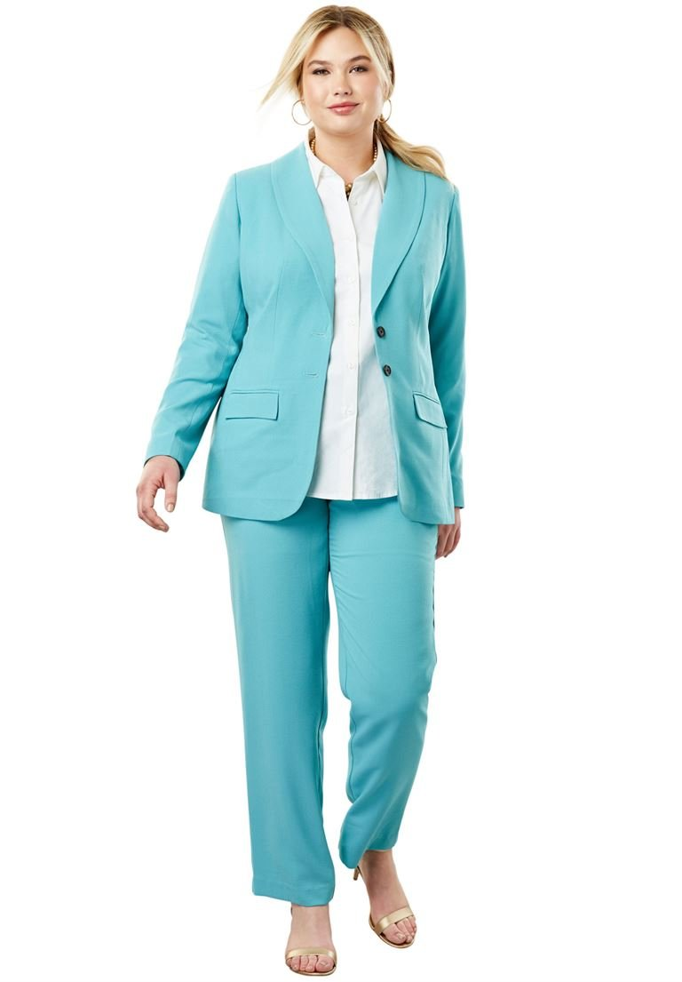 Jessica London Women's Plus Size Single Breasted Pant Suit Dusty Aqua,30 W
