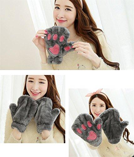 Winter Girl Warm Thick Gloves Plush Full Finger/Half Finger Mittens Cat Paw