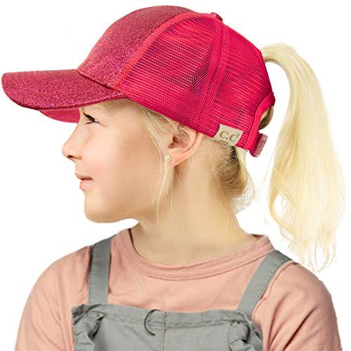 C.C Kids 2-7 Ponytail Messy Buns Ponycaps Baseball Visor Cap Hat Glitter Hot ()