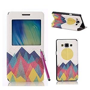 Samsung Galaxy A7 Case, FIBEST Cute Slim Flip Window View Wallet Leather Case Cover for Samsung Galaxy A7 +Stylus Pen