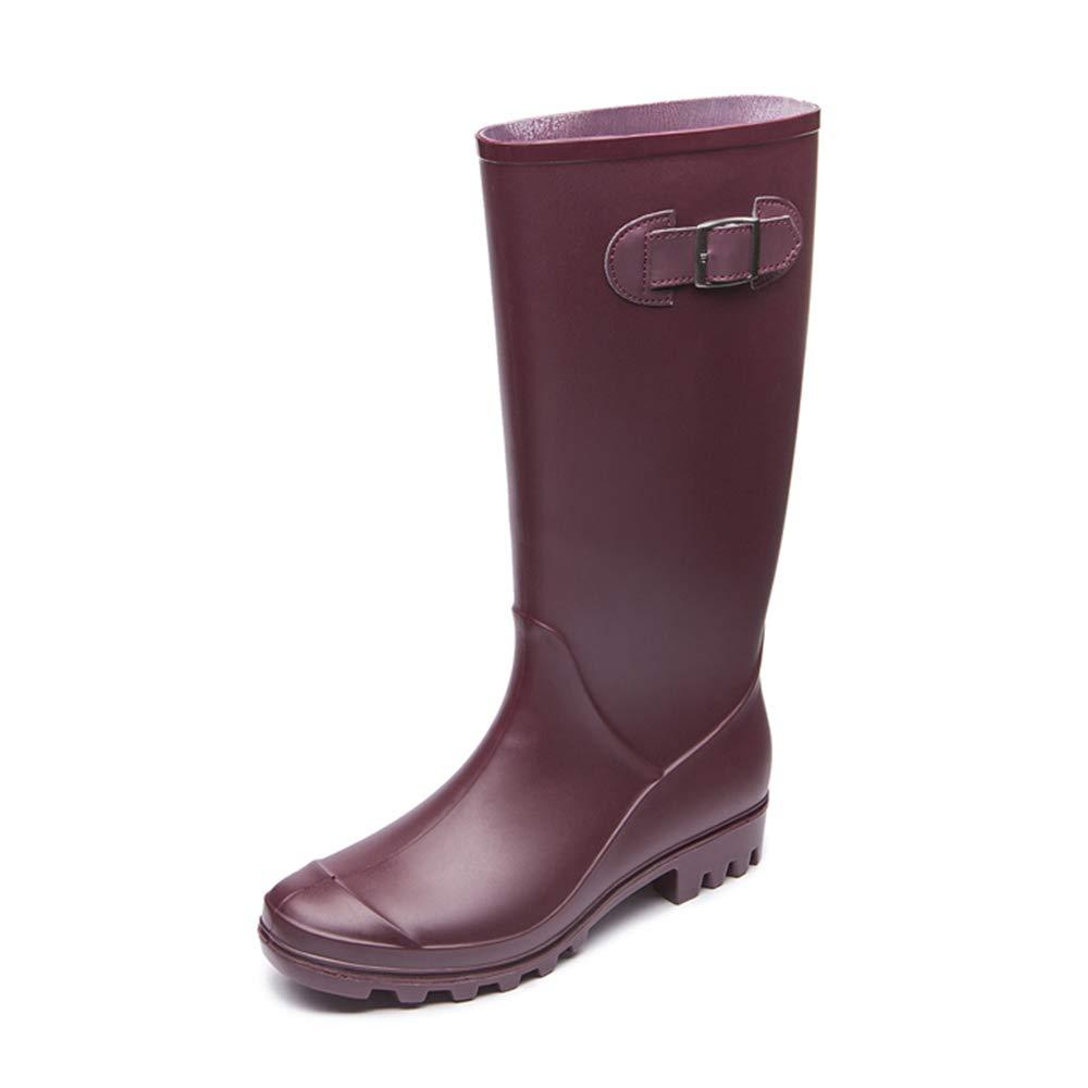 Regenschuhe Regen Stiefel Ladies 'High Tube wasserdichtes wasserdichtes wasserdichtes Gummi Unbeschlagen Frauen Wasser Schuhe Anti-Rutsch-Regenstiefel (Farbe   Weinrot, Größe   39 1 3 EU)  5897a5