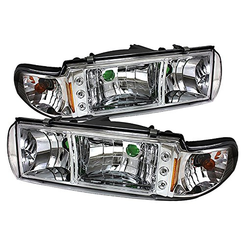 VIPMOTOZ Metallic Chrome Headlight Assembly For 1991-1996 Chevy Caprice & Impala SS, Driver and Passenger Side