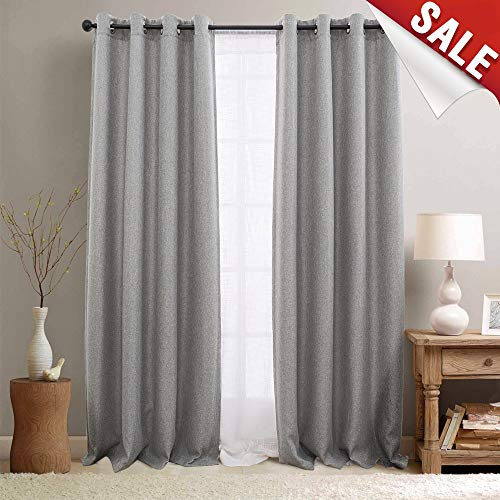 jinchan Thermal Insulated Textured Faux Linen Room Darkening Curtain Panels for Bedroom Drapes for Living Room Grommet Top One Panel L95-Inch Grey (Curtains Grey Silver)