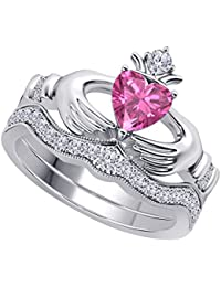 Women's 14k Gold Rhodium Plated Alloy White/Yellow/Rose/Black 1.00CT Heart Cut Created Pink Sapphire & Cubic Zirconia Round Wedding Band & Crown Engagement Claddagh Bridal Ring Set Jewelry