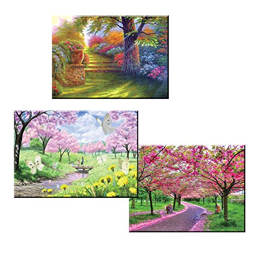 5D Diamond Painting kit Full Drill Tree DIY Crafts Set Paint with Diamonds Flowers Mosaic Art Pictures 3D Round Crystal Rhinestone Counted Embroidery Wall Sticker for Home Decoration 3 Pieces Set