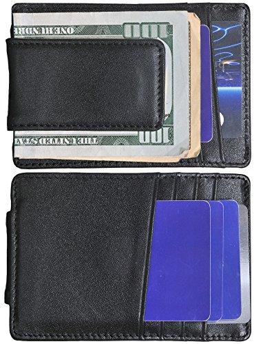 Mens Money Clip Wallet RFID Slim Wallet Genuine Leather Thin Front Pocket Wallet (Black (Napa (Napa Leather Magnetic Money Clip)