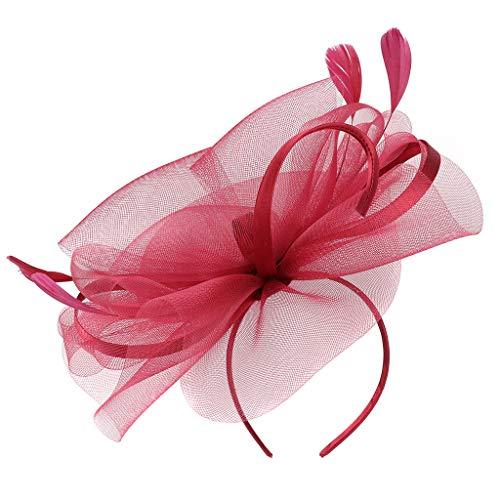hositor Pink Headband, Fascinator Hat Flower Feather Net Mesh Kentucky Derby Tea Party Party Headwear ()