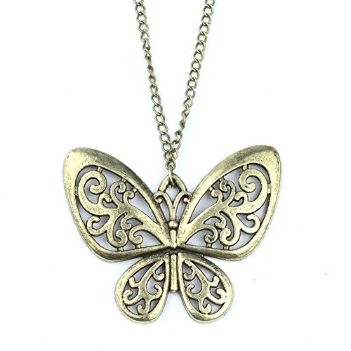 GBSTORE Vintage Bronze Retro Carved Butterfly Sweater Chain Necklace ()