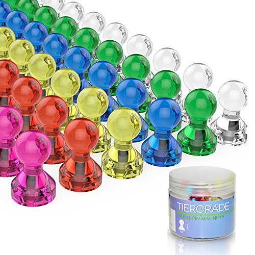 Push Pin Magnets, Fridge Magnets, Tiergrade 60 Pack 7 Assorted Color Strong Magnets, Use at Home School Classroom and Office Magnets, Magnets for Refrigerator Dry Erase Board and Whiteboard Magnets