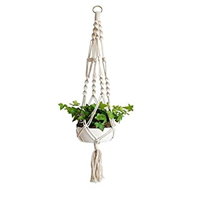 Macrame Plant Hanger Indoor Outdoor Flower Pot Holder Stand Cotton Rope Hanging Planter Basket Boho Home Decor (A, M): Arts, Crafts & Sewing