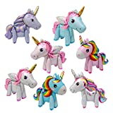 6 Pack 3D Unicorn Balloons Walking Animal Balloons Aluminum Foil Balloons for Birthday Party Decorations Supplies Wedding Baby Shower Decoration, 6 Style